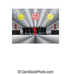 young people-silhouette - young people at party - vector