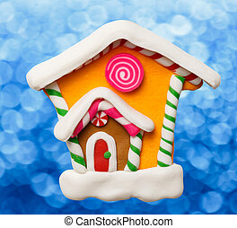Christmas decorative house as illustration for design