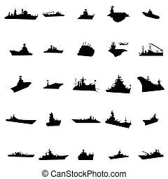 25 different warships silhouettes isolated on white...