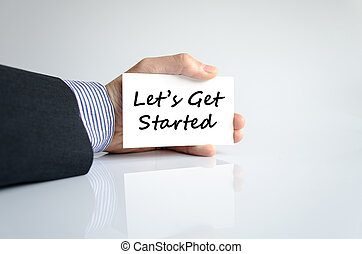 Let's get started text concept isolated over white...