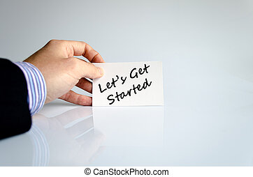 Lets get started text concept isolated over white background...