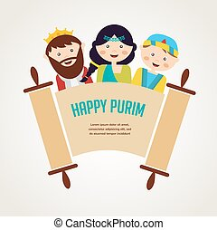 kids wearing costumes from Purim story arranged around torah...