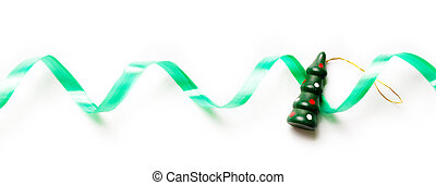 Xmas background with green ribbon and decoration