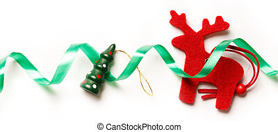 Xmas background with red reindeer and ribbon