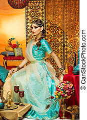 Shot of oriental woman in a traditional costume. - Oriental...