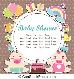 baby boy and girl shower care with place for your text