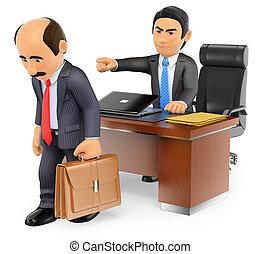 3D Businessman boss firing an employee