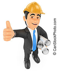 3D Architect with the thumb up and plans - 3d business...
