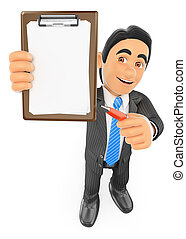3D Businessman with blank clipboard and a pen