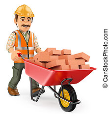 3D Construction worker with a wheelbarrow full of bricks