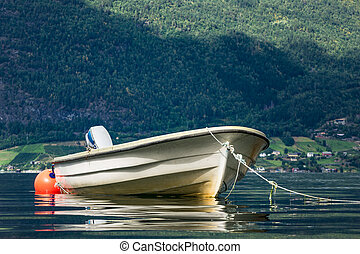 Boat on the Storfjord in Norway