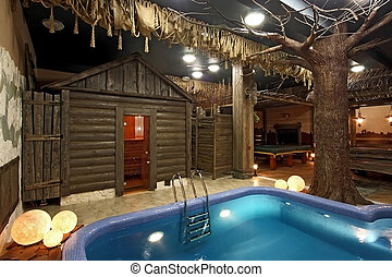 Sauna with pool in style of ranch
