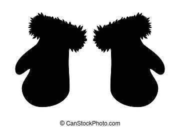 Christmas mittens silhouette, winter cartoon gloves design, icon, symbol. Winter vector illustration isolated on white background.