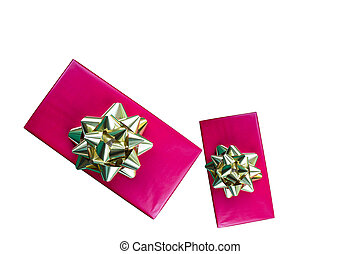 Red holiday gift boxes isolated on white - Red holiday gift...