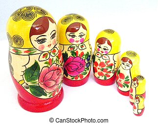Russian Dolls - Traditional red and yellow painted dolls