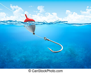 Float, fishing line and hook underwater vertical - 3d...