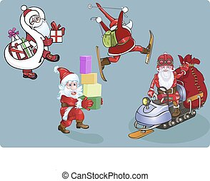 Four Santa on skis, a snowmobile, with gifts.