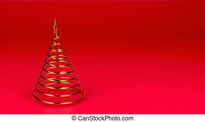 Gold spiral Christmas tree spin on red background