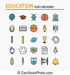 Education and Science Colorful Flat Line Icons Set