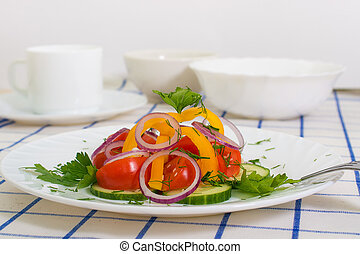 vegetarian salad from three vegetables