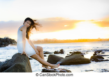 Sunset - Wind Blowing In The Hair Of A Beautiful Woman...