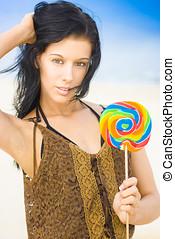 Woman With Childlike Innocence - Pretty Bikini Female With...