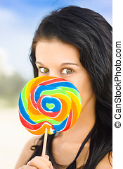 Candy Craze - Beautiful Young Female With Vibrant Hazel Eyes...