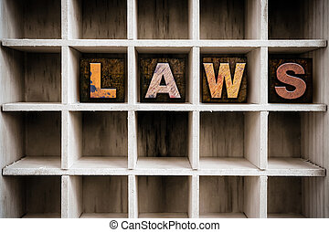 Law Concept Wooden Letterpress Type in Drawer - The word LAW...