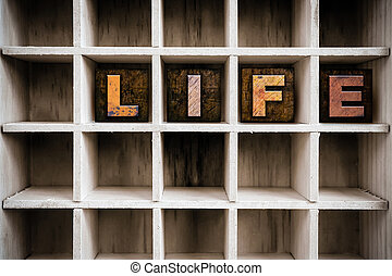 Life Concept Wooden Letterpress Type in Drawer