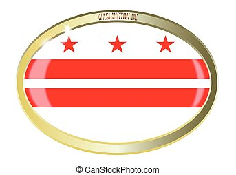 Washington DC Flag Oval Button - Oval metal button with the...