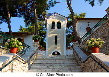 Stairs to Faneromeni monastery on the island of Lefkada, Greece
