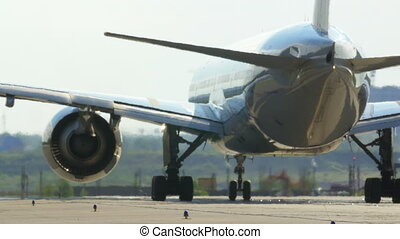 Passenger Jet Plane On The Runway - Passenger jet plane on...