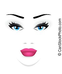 young woman face with blue eye and pink lips