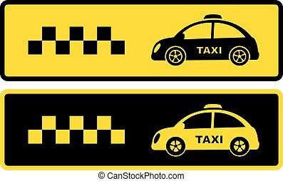 black and yellow retro taxi icons - set of two black and...