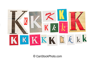 K cut out letter - set of K cut out letter set, isolated on...