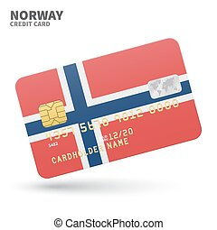 Credit card with Norway flag background for bank,...