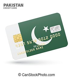 Credit card with Pakistan flag background for bank,...