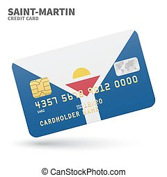 Credit card with Saint-Martin flag background for bank,...