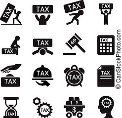 Tax icons set Vector illustration