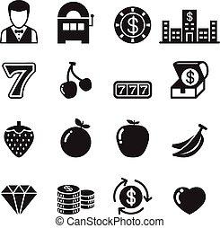 Casino and Slot machine icons set - Casino Slot machine...
