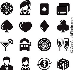 Casino and gambling icons set - Casino gambling icons set...