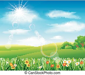 Nature background with green grass