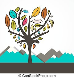 Heart Shaped Tree with Colorful Leaves Vector Flat Design...