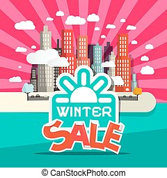 Winter Sale Retro Flat Design Vector Illustration with City, Clouds and Sun