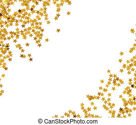 Golden star shaped confetti frame isolated on white...