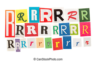 R cut out letter set isolated on white