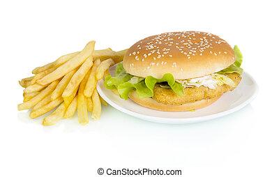 Tasty hamburger on plate