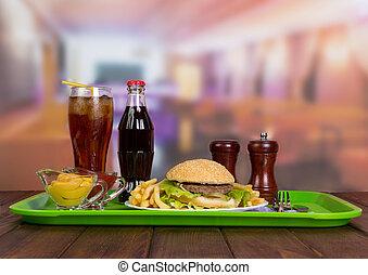 Tray of tasty hamburger