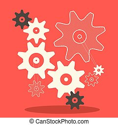 Flat Design Cogs - Gears Vector Illustration in Retro Style on Red Background