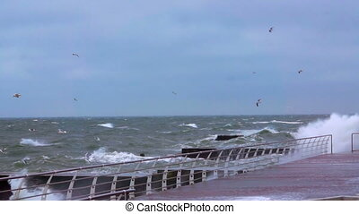 Storm on the Black Sea Wave Crushing Coast Line Slow Motion...